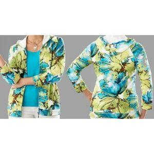 Chico's Zenergy Splash Floral Jacket Blue Multi 3